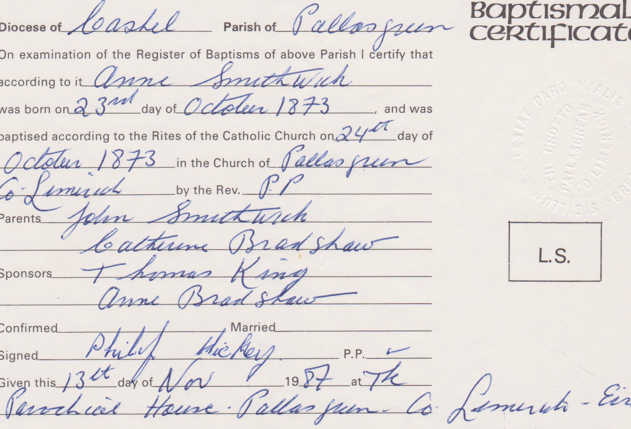 Documents Anne Smithwick Birth And Baptism Certificate